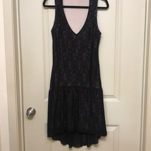 Sanctuary black lace V neck dress S
